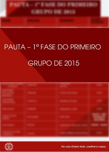 PAUTA DO I GRUPO 2015