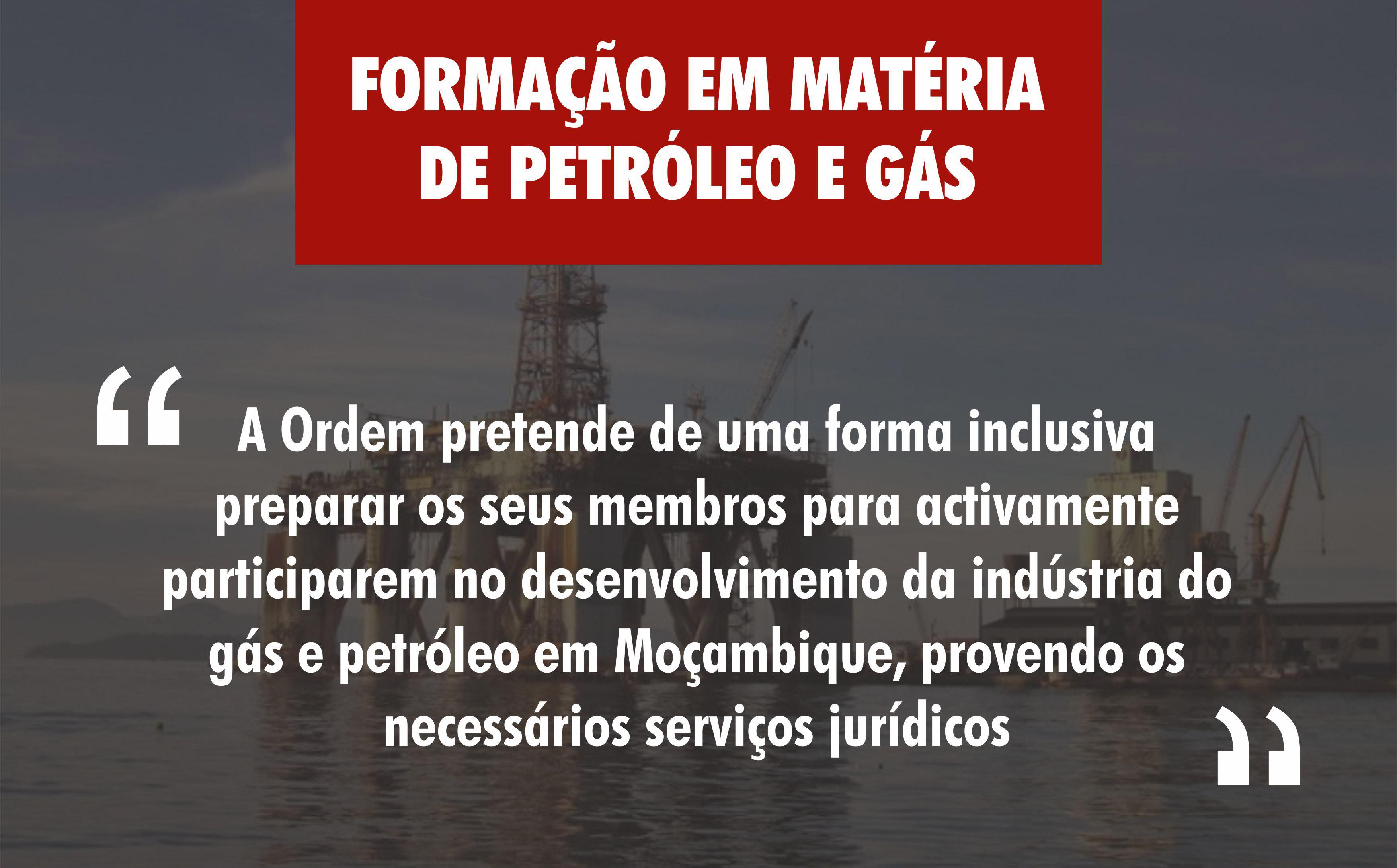 FORMAÇÃO EM MATÉRIA DE PETRÓLEO E GÁS